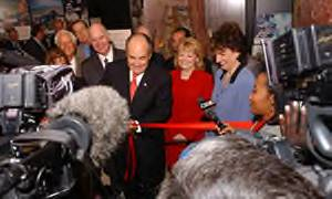 Giuliani cutting the ribbon of the new Drug Enforcement Agency mobile museum in Dallas, Texas in Sept. 2003